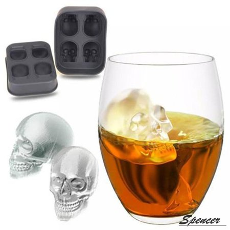 Spencer 3D Skull 4 Grids Flexible Silicone Ice Cube Mold Round Ice Cube Maker for Halloween Gifts,Black-Pack of 1 - Halloween Cuba
