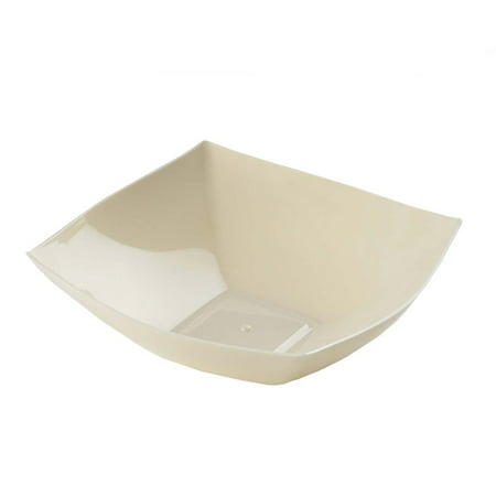 """BalsaCircle 4 pcs 7.5"""" wide 32 oz Disposable Square Plastic Serving Bowls for Wedding Reception Party Buffet Catering Tableware"""