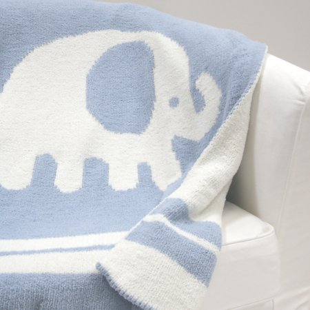 Lambs & Ivy Signature Elephant Tales Blue/White Chenille Blanket Acrylic Nhl Baby Blanket