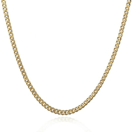 Hermah 3mm Mens Boys Gold Tone Curb Cuban Necklace Stainless Steel Chain - Necklaces For Boys