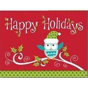 Glittery Whimsical Holiday Owl 16 Christmas Holiday Boxed Greeting Cards