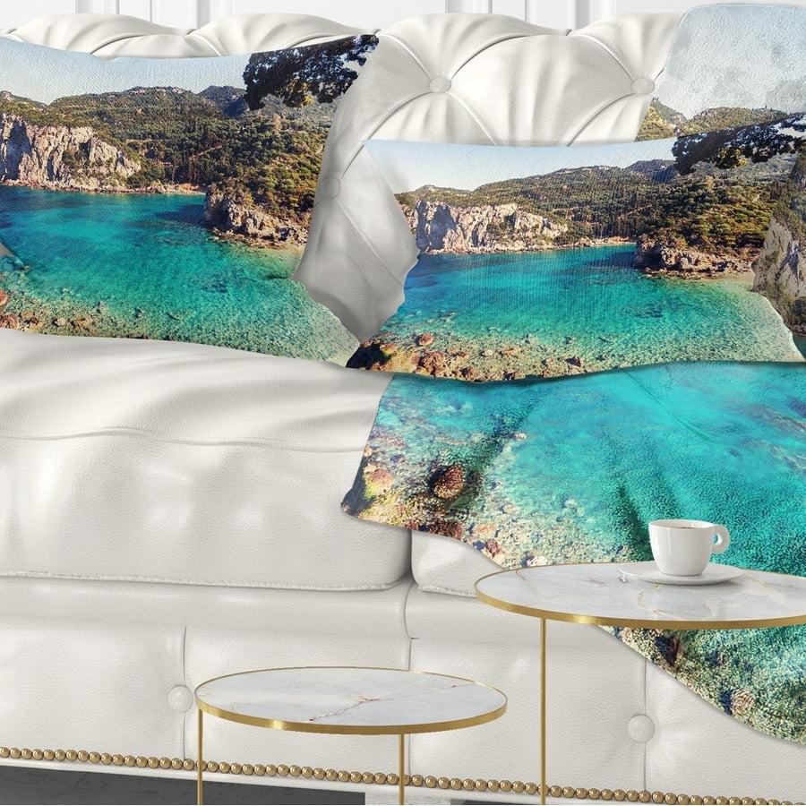 Design Art Designart Rocky Beach With Turquoise Water Beach Photo Throw Pillow Walmart Com Walmart Com