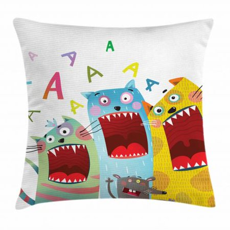 Kids Boys Throw Pillow Cushion Cover, Colorful Cartoon Cats and Rat Singing Funny Animal Characters Karaoke Night Theme, Decorative Square Accent Pillow Case, 18 X 18 Inches, Multicolor, by Ambesonne