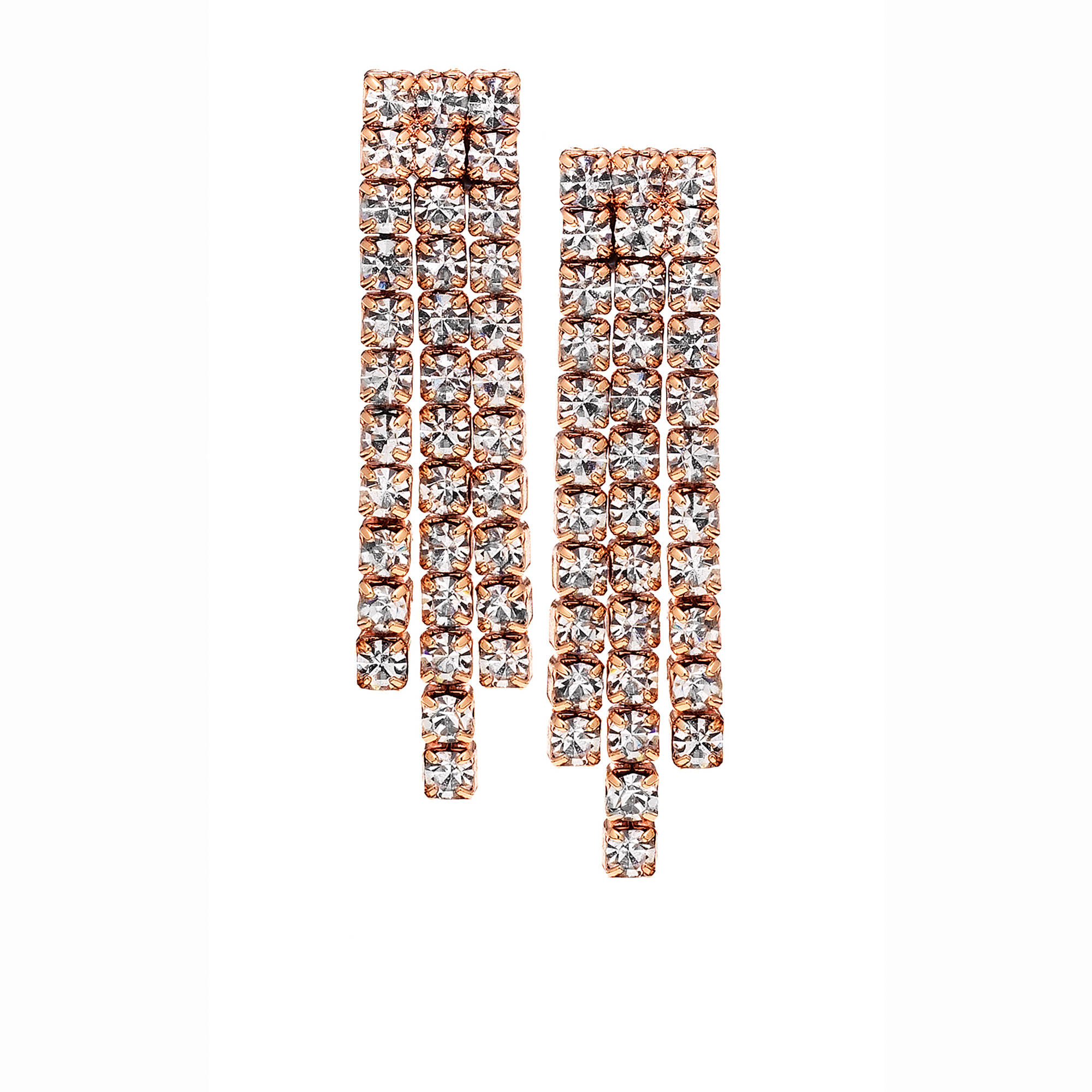 X & O Handset Austrian Crystal 14kt Rose Gold-Plated Three-Row Earrings