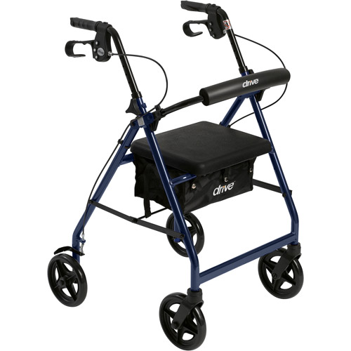 Drive Medical Aluminum Rollator with Fold Up and Removable Back Support and Padded Seat, Blue