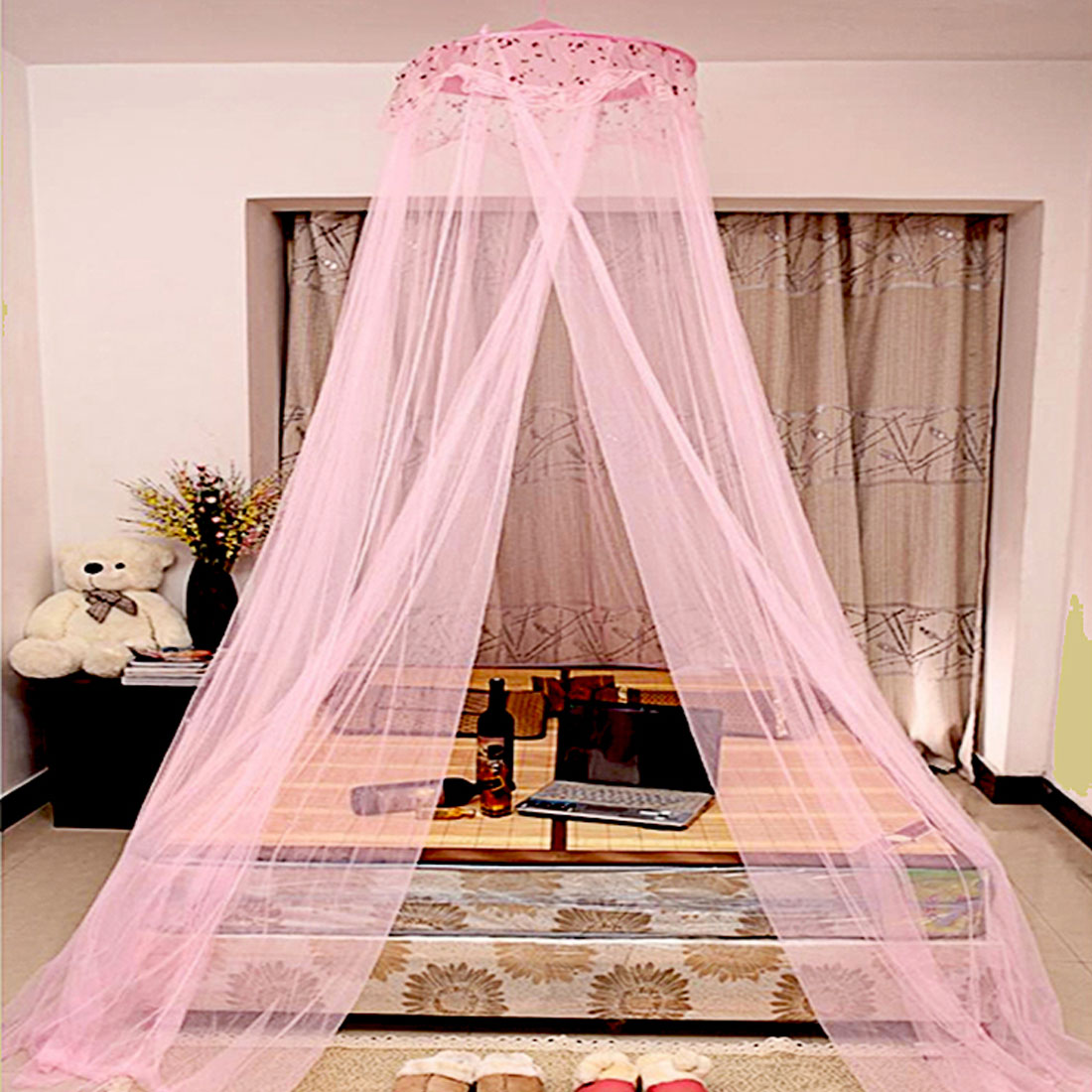 Unique Bargains Bedroom Dome Shaped Bugs  Mosquito Net Bed Canopy Pink