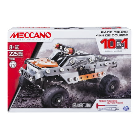 Engineering Toys For Adults (Meccano by Erector, 10 in 1 Model Race Truck, STEM Engineering Education Toy, 225 Pieces, For Ages 8 and)