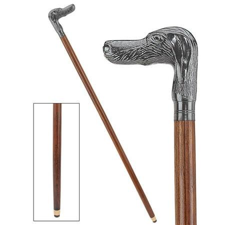 Hunting Dog Cast Metal Handle Hardwood Walking Stick