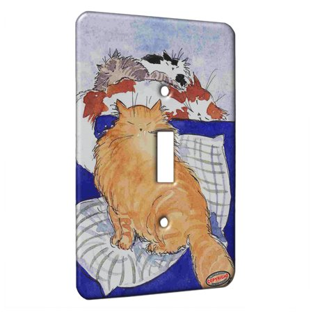 KuzmarK™ Single Gang Toggle Switch Wall Plate - Maine Coon Kitty Pile Up Abstract Cat Art by Denise (Single Piles And Pile Groups Under Lateral Loading)