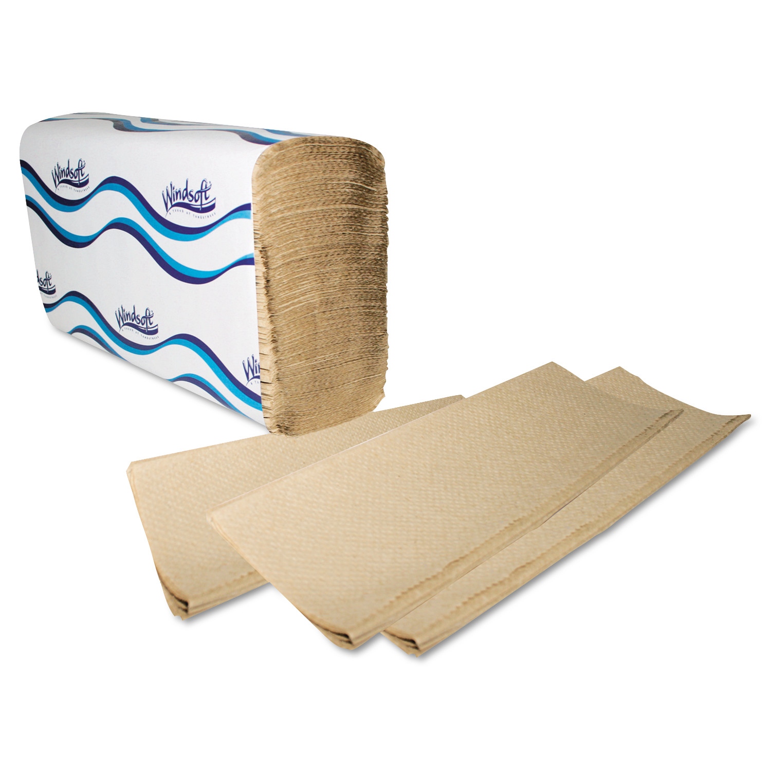 Windsoft Multifold Paper Towels, 1-Ply, 9 1/5 x 9 2/5, Natural, 250/Pack, 16 Packs/Carton