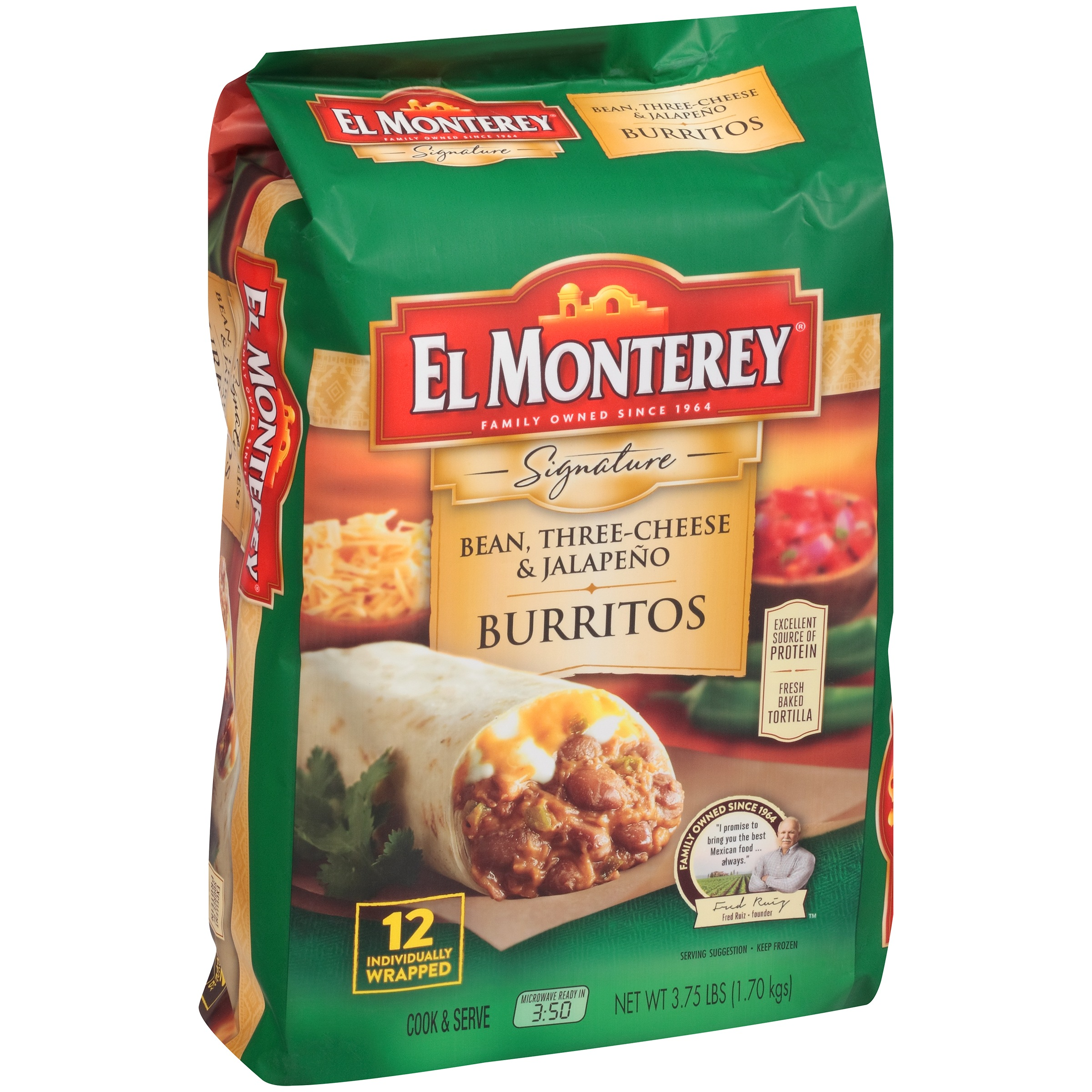 El Monterey® Signature Bean Three Cheese U0026 Jalapeño Burritos 3.75 Lbs.