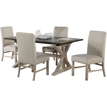 Outstanding Cambridge Ellington 5 Piece Dining Set With Expandable Trestle Table And 4 Fabric Chairs Customarchery Wood Chair Design Ideas Customarcherynet