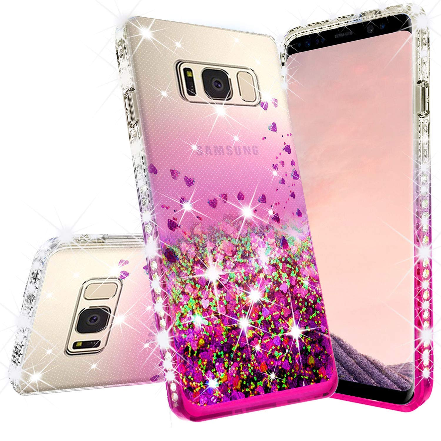 Samsung Galaxy S9 Plus Case w/[Temper Glass Screen Protector] Liquid Glitter Phone Case Waterfall Floating Quicksand Bling Sparkle Cute Protective Girls Women Cover for Galaxy S9 Plus - Pink/Clear