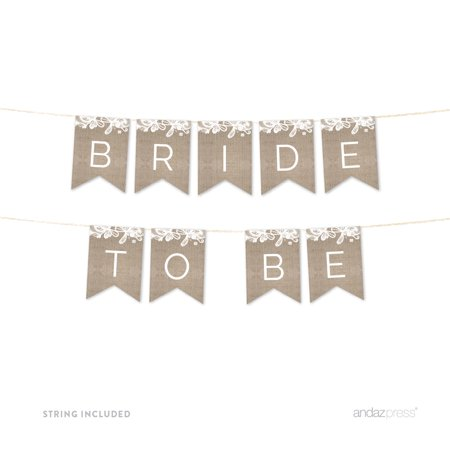 Bride To Be Burlap Lace Wedding Hanging Pennant Party Banner with - Custom Wedding Banners