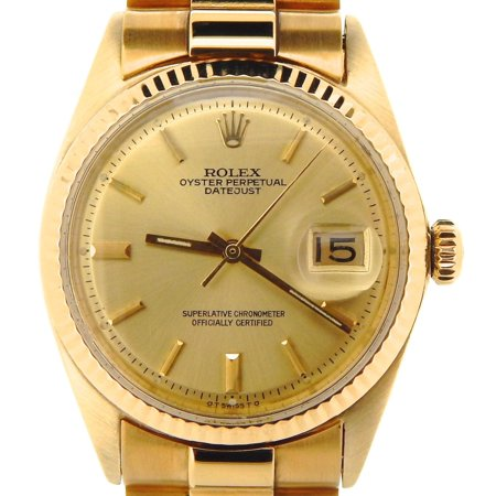 Mens Rolex 18K Yellow Gold Datejust w/Gold Plated Band 1601 (SKU 670096NMT) ()