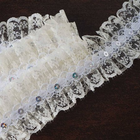 Efavormart 25 YARD Ruffle Lace Trim With Sequin Beads For Dress Craft Sewing Trimming  - IVORY