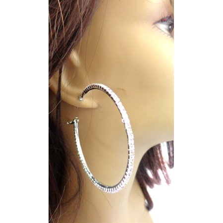 - Large Crystal Hoop Earrings 2.75 inch Silver Rhodium Plated Rhinestone Hoops