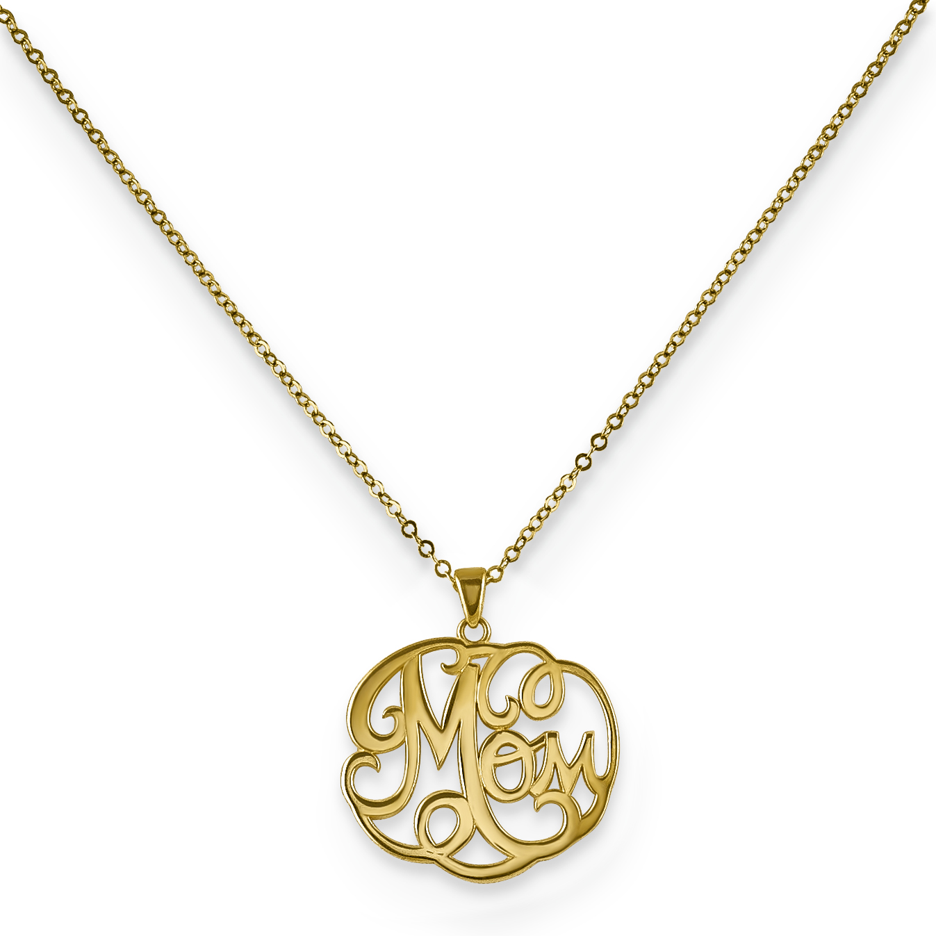 14k Yellow Gold Script Mom Pendant Charm Necklace Chain Fine Jewelry For Women Gift Set