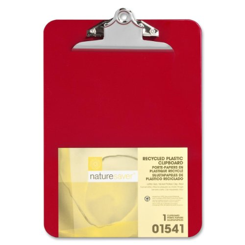"Nature Saver Recycled Clipboard - 1"" Capacity - 8.50"" X 12"" - Heavy Duty - Plastic - Red (NAT01541)"