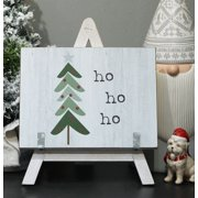 Parisloft Holiday Tree Wood Freestanding Sign with Wooden A-Framed Easel, Farmhouse Christmas Tabletop Decor, White, 7.875 x 1 x 9.875 Inches (ho ho ho)