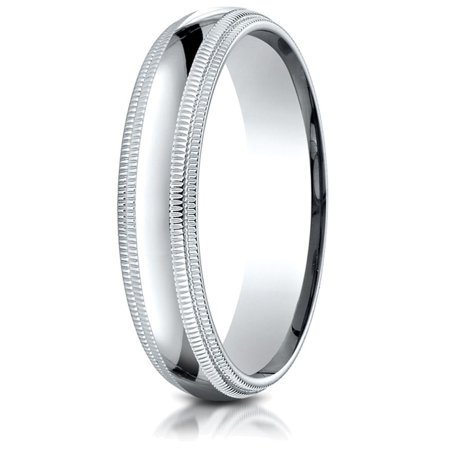 - 10k Gold 5mm Slightly Domed Standard Comfort-fit Wedding Band / Ring with Double Milgrain