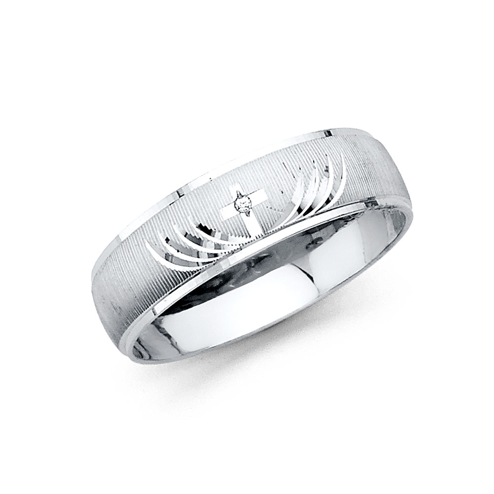 Wellingsale Mens 14K White Gold CZ Cubic Zirconia Wedding Ring Band