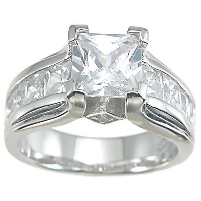 Plutus kkr6284d 925 Sterling Silver Rhodium Finish CZ Princess Designer Inspired Anniversary Ring Size 9