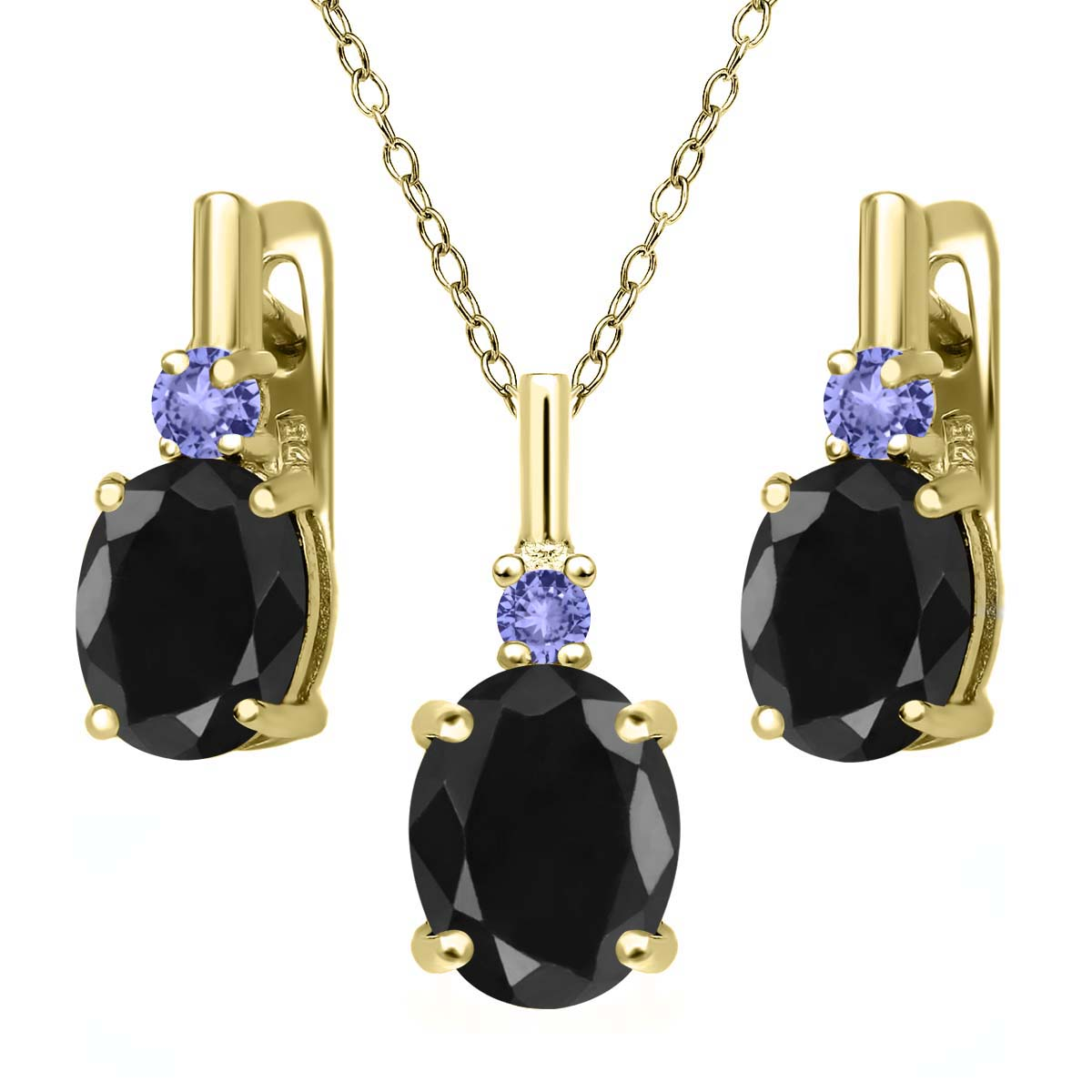 7.70 Ct Black Sapphire Blue Tanzanite 18K Yellow Gold Plated Silver Pendant Earrings Set by