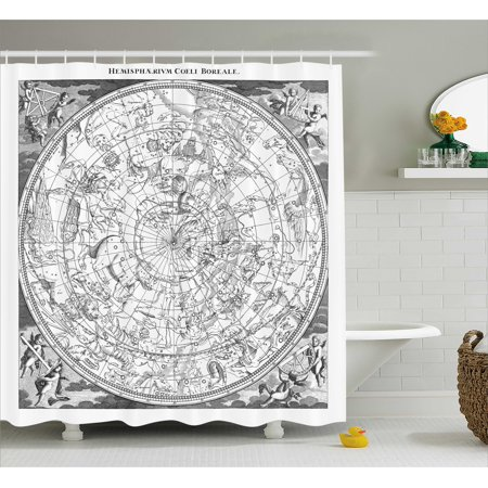Constellation Shower Curtain Detailed Vintage Boreal Hemisphere Astronomy Ancient Antique Figures Fabric Bathroom Set With Hooks 69W X 84L Inches Extra