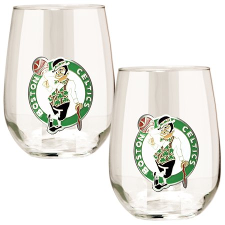 Boston Celtics Stemless Wine Glass Set - No - Boston Celtics Glass