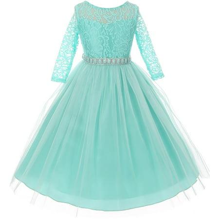 Little Girl Stunning Lace Tulle Rhinestones Holiday Party Flower Girl Dress Tiffany 2 MBK 372 BNY Corner](Tiffanys Girls)