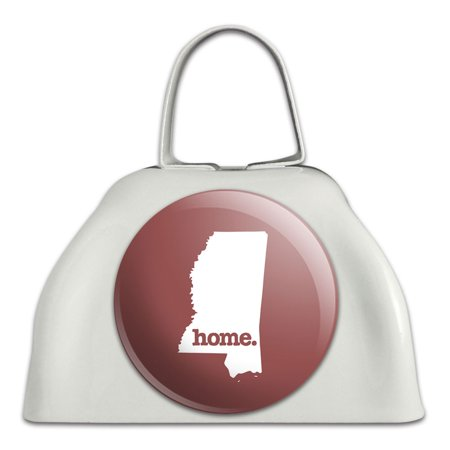 Mississippi MS Home State White Cowbell Cow Bell - Solid Marsala Wine](Personalized Cowbells)