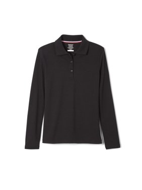 French Toast Girls School Uniform Long Sleeve Picot Collar Interlock Polo Shirt, Sizes 4-20 & Plus