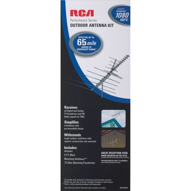 RCA Outdoor 60 Mile Antenna With Mast - UHF, VHF and HDTV