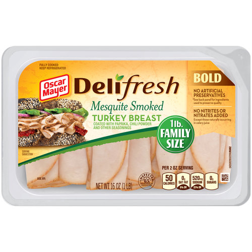 Oscar Mayer Deli Fresh Mesquite Smoked Turkey Breast Lunch Meat, 16 oz