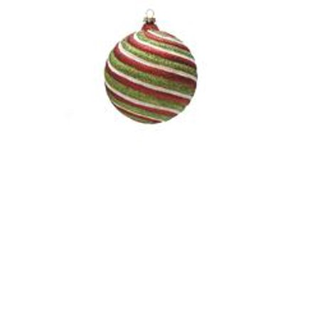 merry & bright red  white and green glitter swirl shatterproof christmas ball ornament 4