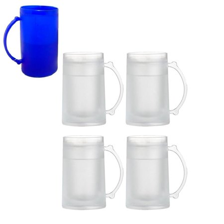 4 Set Freezer Mugs 16 oz Frosty Freezer Mug Keep Drink Cold Ice Frozen Cup New