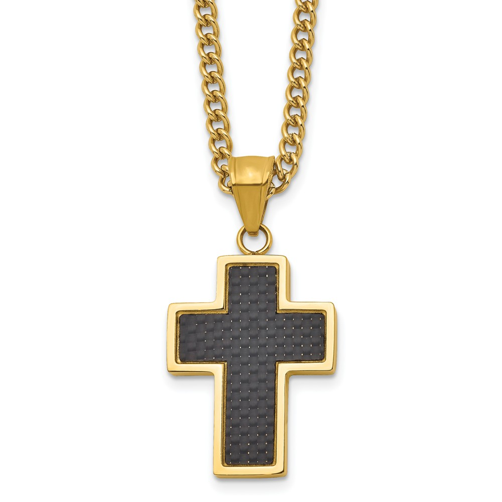 Bonyak Jewelry Stainless Steel Gold IP w//Brushed /& Polished Cable Cross Necklace
