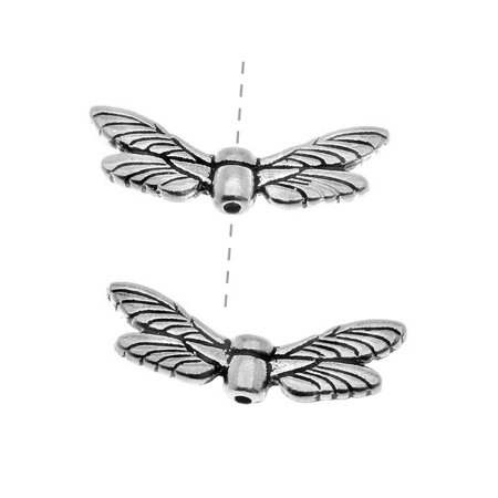 Dragonfly Wings Antique (Fine Silver Plated Pewter Dragonfly Wing Beads 20mm)