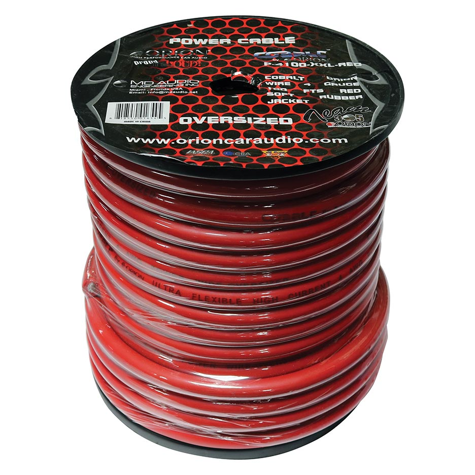 Orion PW050XXLRED Cobalt 0 Gauge Oversize Wire 50 Ft Red