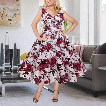 Women Plus Size Vintage Printing Maxi Dress V Neck Sleeveless Flare Dress Ball Gown