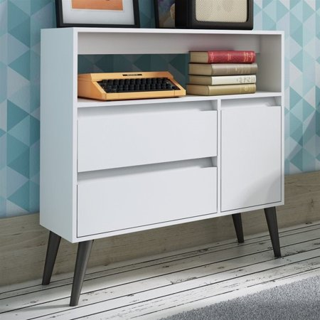Manhattan Comfort Gota Single Door Console Table in White