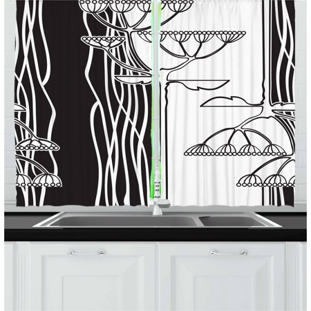 Black and White Curtains 2 Panels Set, Abstract Fennel Plants with Seeds  Monochrome Garden Condiment Ornament, Window Drapes for Living Room  Bedroom, ...