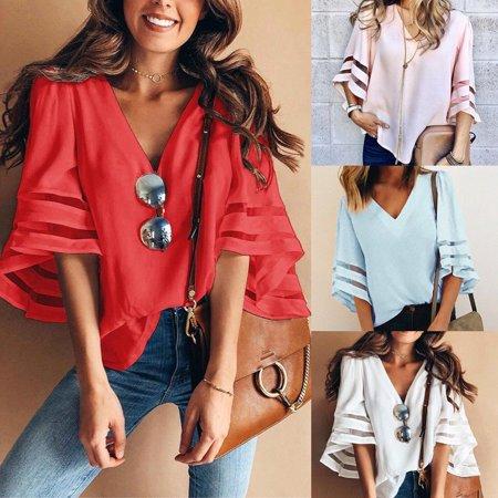 Women Casual Loose Shawl Kimono Cardigan Chiffon Coat Jacket Blouse