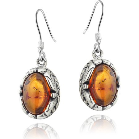 Oval-Shaped Amber Sterling Silver Wire Hook