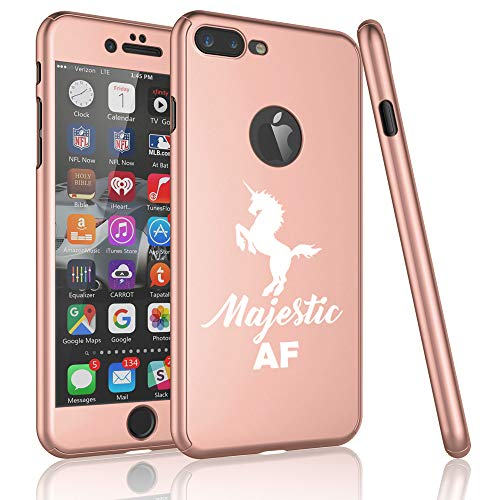 360° Full Body Thin Slim Hard Case Cover + Tempered Glass Screen Protector for Apple iPhone Majestic AF Unicorn (Rose-Gold, for Apple iPhone 7 Plus / 8 Plus)