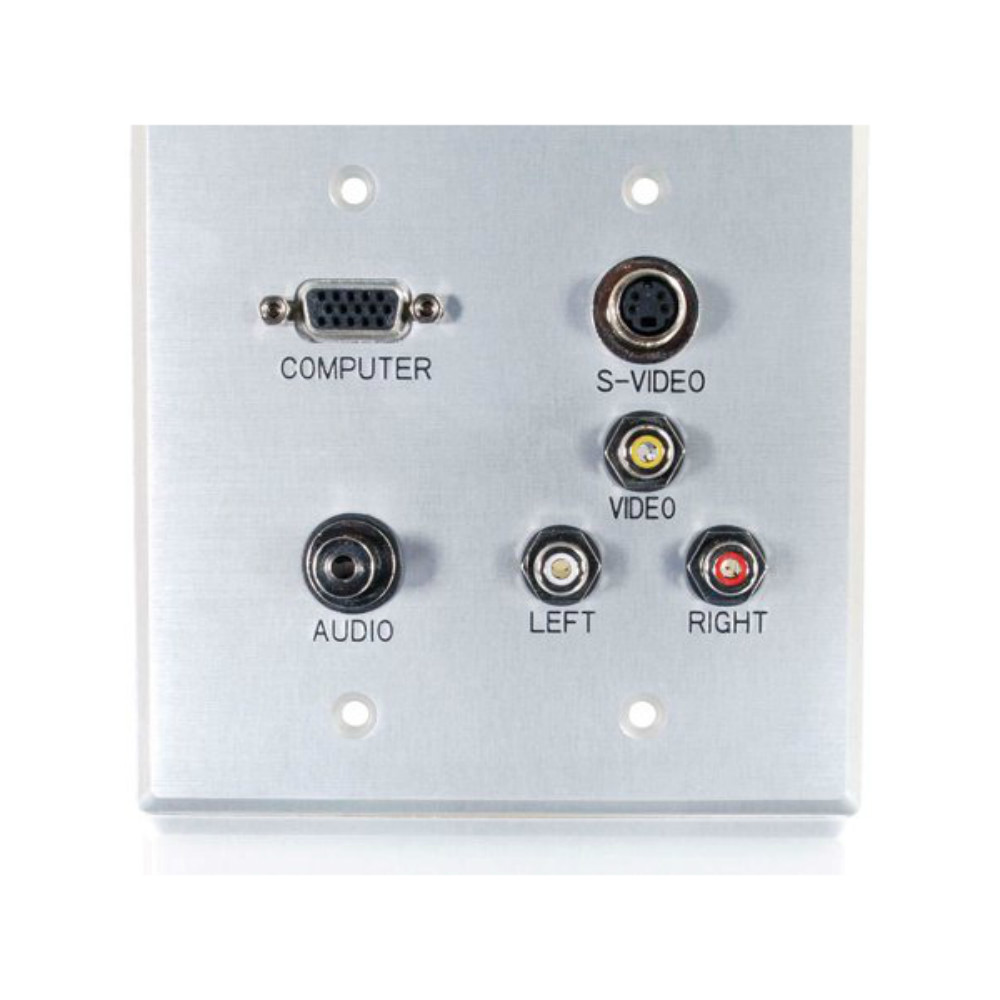 S-Video C2G 40507 VGA Brushed Aluminum Composite Video and RCA Stereo Pass Through Double Gang Wall Plate 3.5mm Audio