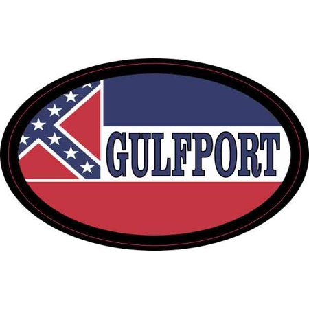 4 x 2.5 Oval Mississippi Flag Gulfport Sticker Car Truck Vehicle Bumper Decal ()