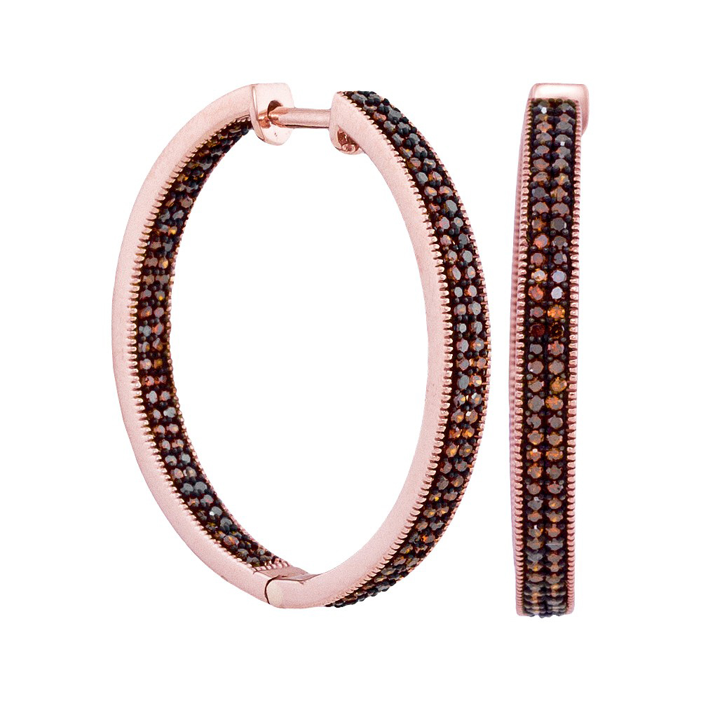 10kt Rose Gold Womens Round Red Colored Diamond Hoop Fashion Earrings (1.00 cttw.)