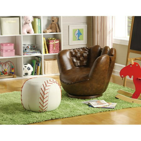 Kiss Faux Leather (Crown Mark Baseball Glove Kids Faux Leather Chair and)